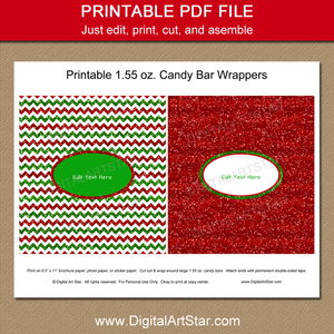 Red and Green Christmas Printable Candy Wrappers