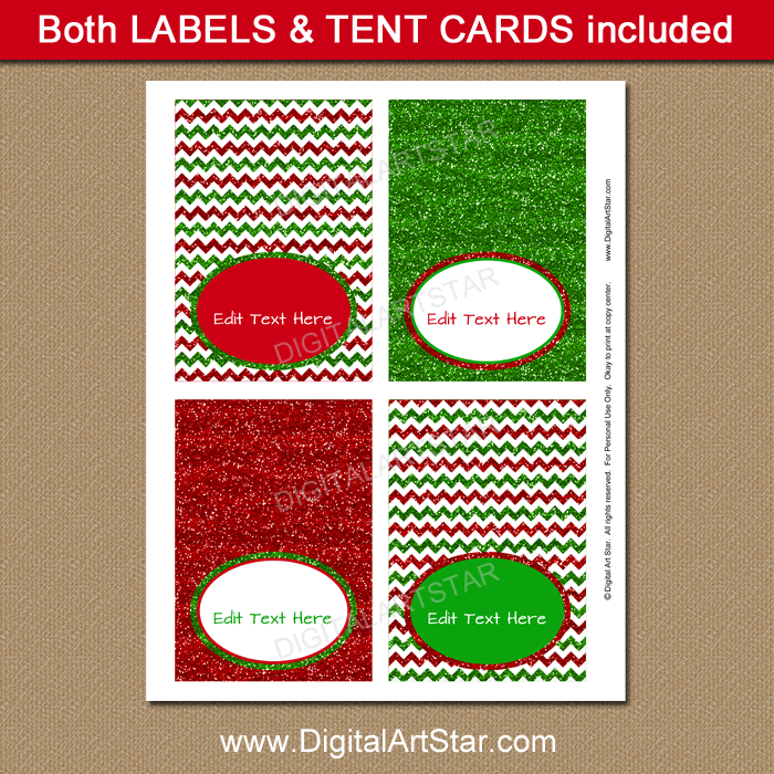 Red and Green Glitter Tent Cards for Christmas