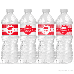 Red and White 2021 Graduation Water Bottle Stickers