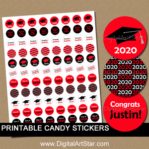 Personalized Graduation Candy Stickers Red Black White
