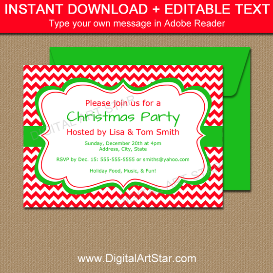 Red Chevron Christmas Invitation Template