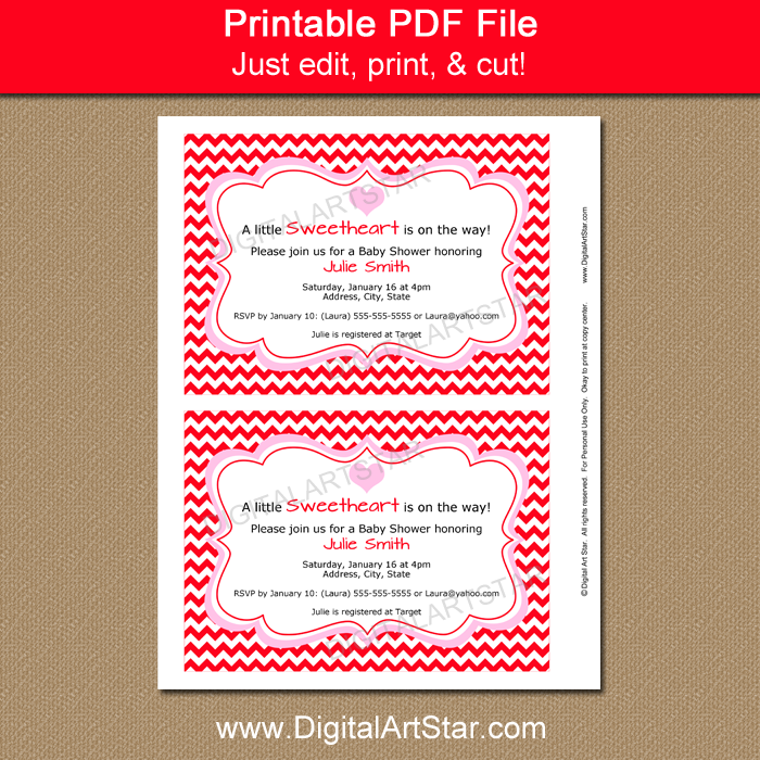 Red Chevron Baby Shower Invite