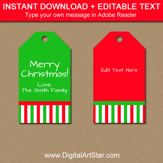 red and green Christmas hang tags