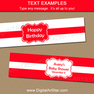 Editable Red Water Bottle Label Template