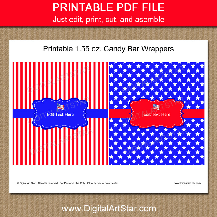 Fourth of July Party Favors Instant Download