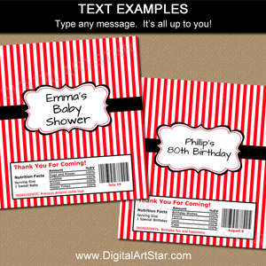 Red White Black Candy Bar Wrapper Template Editable