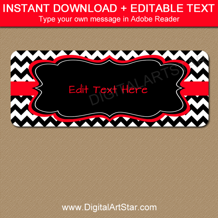 return address labels black and white chevron with red accents