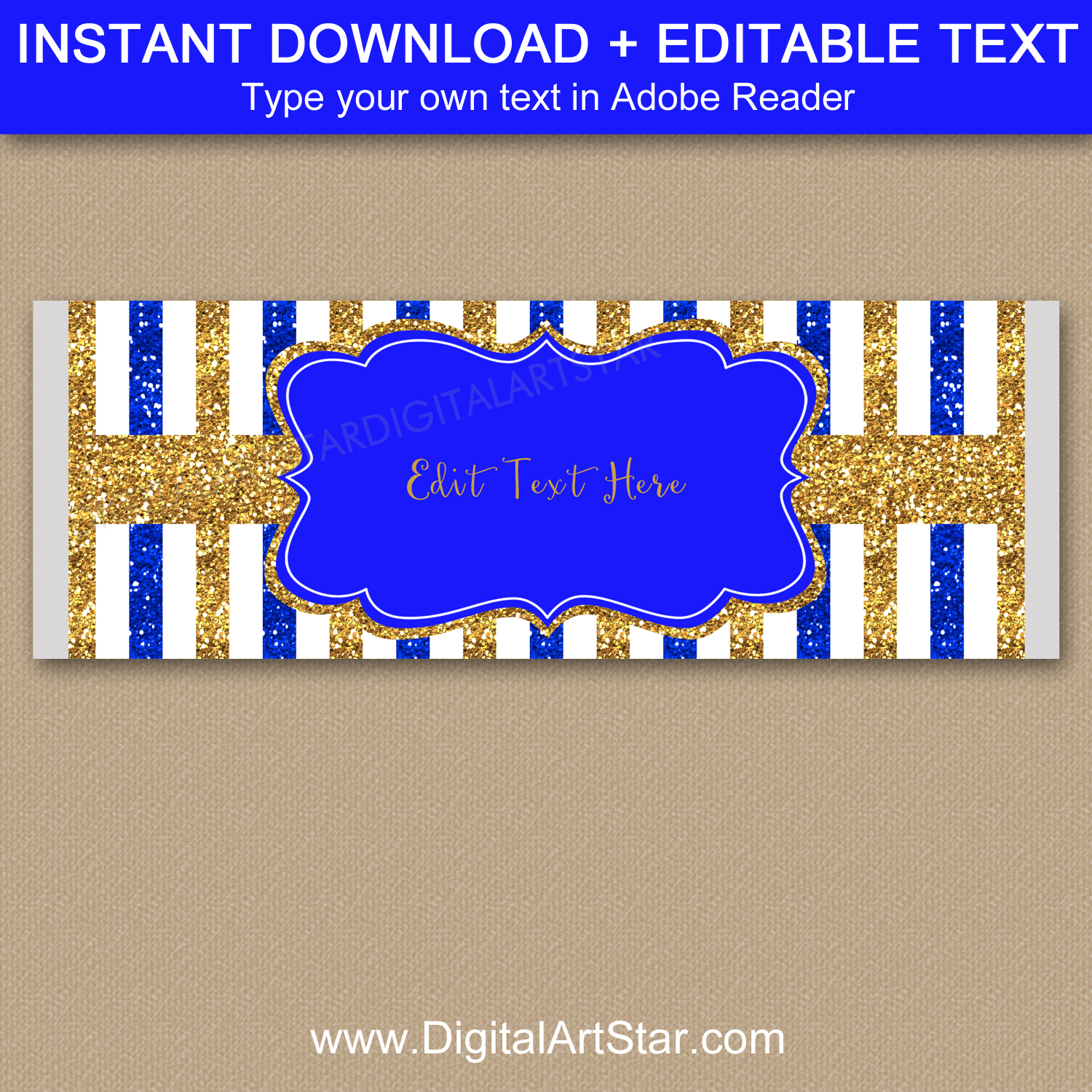 Royal Blue Gold White Candy Bar Wrapper Template for Boy Baby Shower Favors