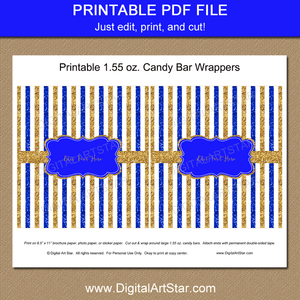 Royal Blue Gold and White Printable Candy Bar Wrapper Download. Baby Shower Printables. Man Birthday Favors.