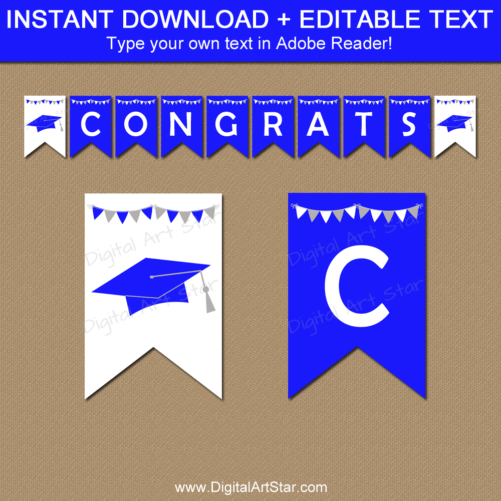 Royal Blue Graduation Banner Personalized Instant Download
