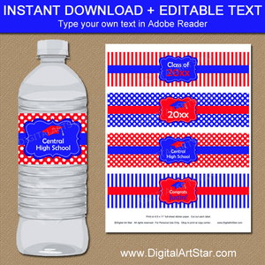 Royal Blue and Red Graduation Water Bottle Labels Editable Template