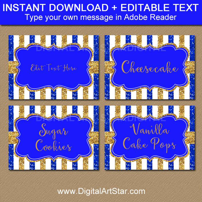 photograph about Gold Printable Labels titled Royal Blue and Gold Kid Shower Printable Labels and House Playing cards