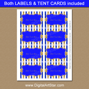 Royal Blue and Gold Printable Labels