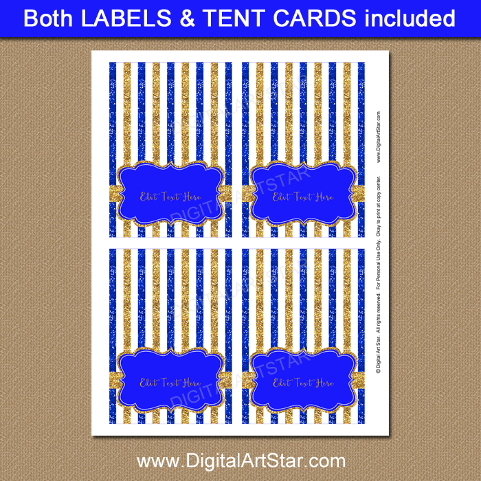 graphic about Gold Printable Place Cards called Royal Blue and Gold Child Shower Printable Labels and Level Playing cards