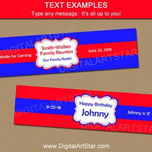 Red and Blue Water Bottle Labels for Family Reunion or Birthday