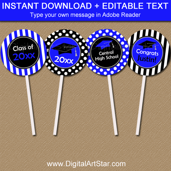 Instant Download Royal Blue Graduation Cupcake Toppers Template