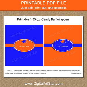 Orange and Royal Blue Graduation Candy Bar Wrappers Printable