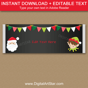 Santa and Elf Christmas Candy Bar Wrappers Chalkboard.  Instant Download Holiday Chocolate Bar Labels.