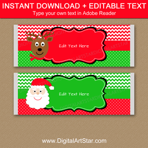 Santa and Reindeer Christmas Chocolate Wrappers Template.  Instant Download Christmas Candy Bar Wrapeprs.