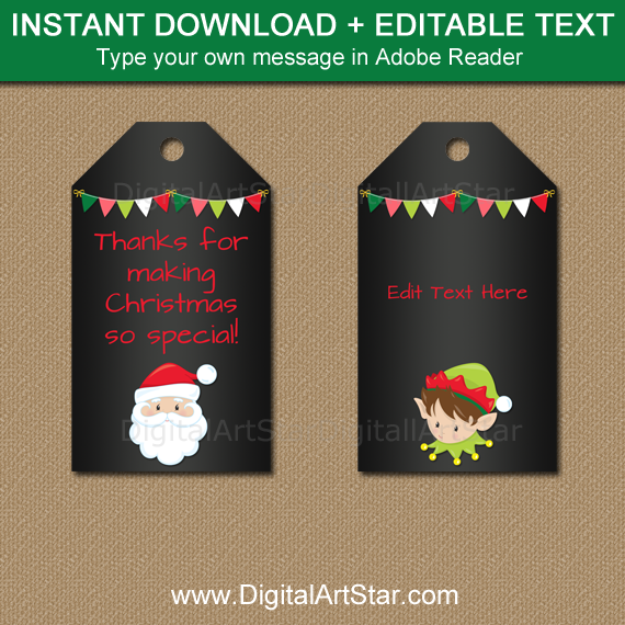 chalkboard holiday tags with Elf and Santa