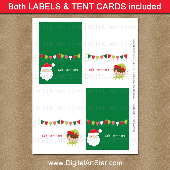 Printable Santa and Elf Food Labels