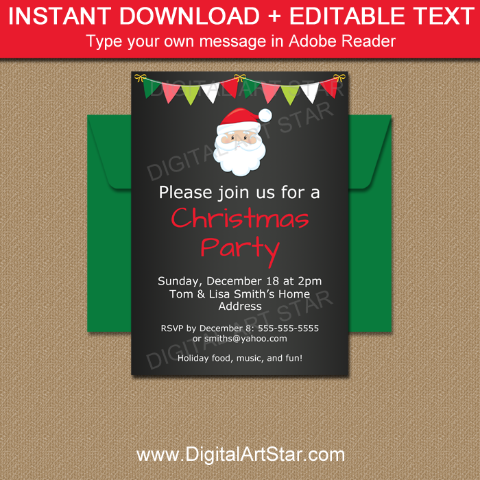 Christmas Party Invitation Template - Santa Invite | Digital Art Star