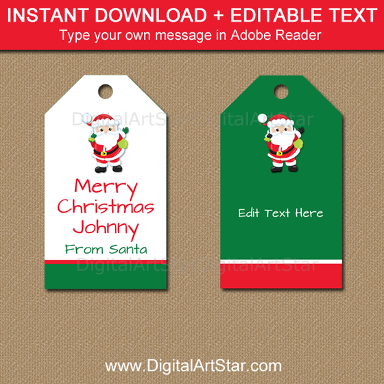 green and white Santa tags with editable text