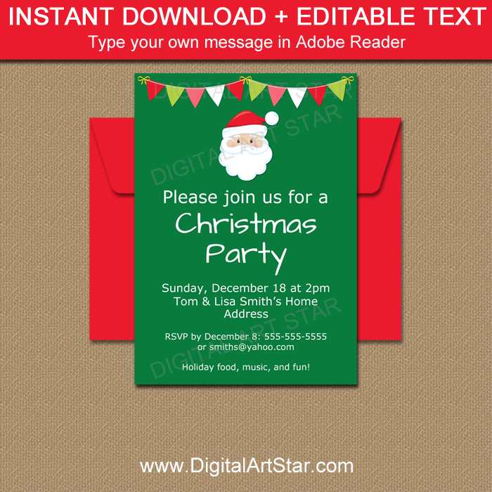 picture about Secret Santa Cards Printable referred to as Xmas Invitation Templates - Printable Vacation Invitations