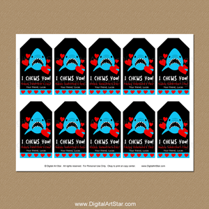 Shark Valentine's Day Tags for Kids