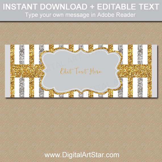 Silver and Gold Glitter Candy Wrappers Printable