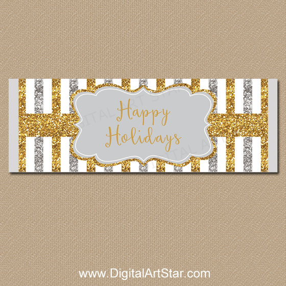 Silver and Gold Happy Holidays Candy Bar Wrapper
