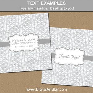 Editable Chocolate Bar Wrappers in Silver Damask