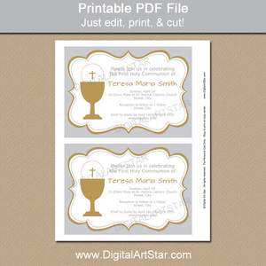 Silver and Gold First Holy Communion Invitation Template