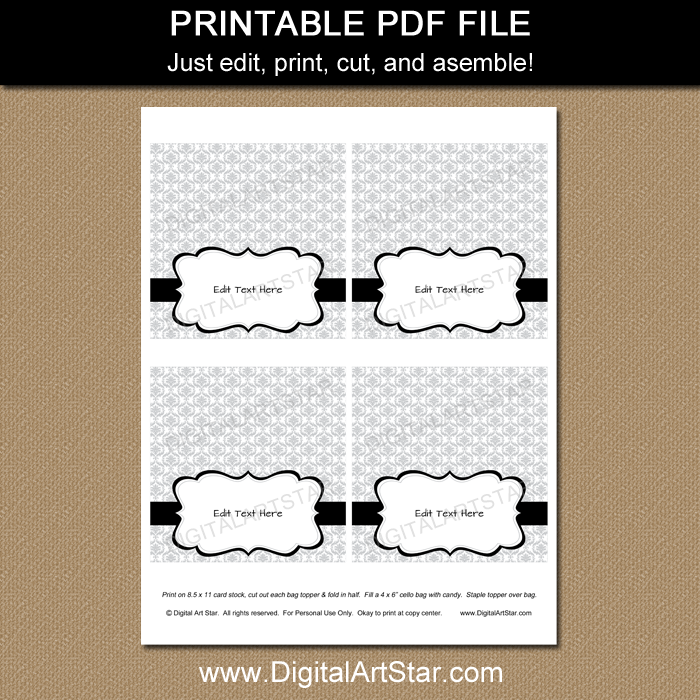Printable Silver Damask Bag Toppers