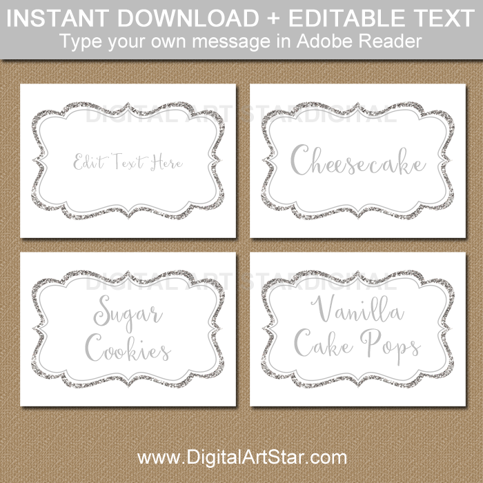 Silver Baby Shower Printable Labels
