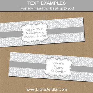 Editable Silver Bottle Labels for Anniversary, Baby Shower, Wedding