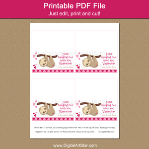 Printable Sloth Valentine Treat Bag Toppers for School