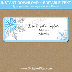 Snowflake Return Address Label Template Blue and Silver