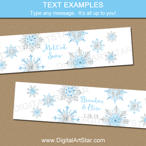 Winter Wedding Water Bottle Labels, Snowflake Party Ideas