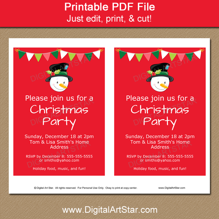 Printable Holiday Invitation Template with Snowman