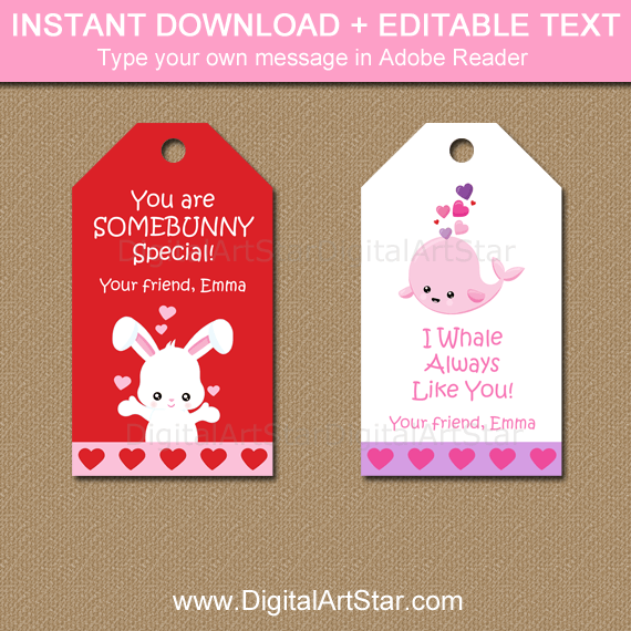 Some Bunny Valentine Tags and Whale Valentine Printable Tags