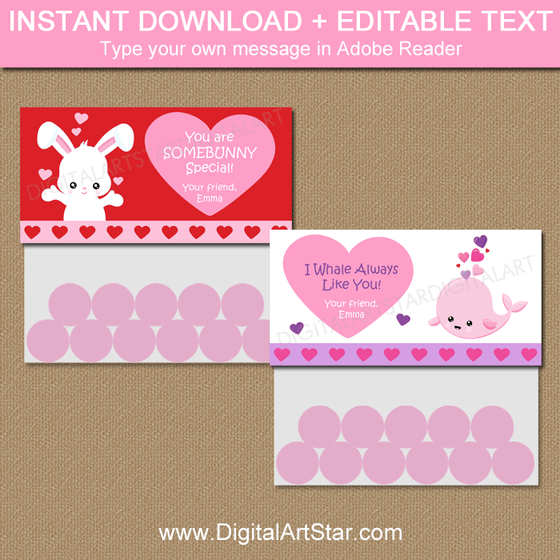 Somebunny Valentine Bag Toppers and Whale Valentine Goodie Bags