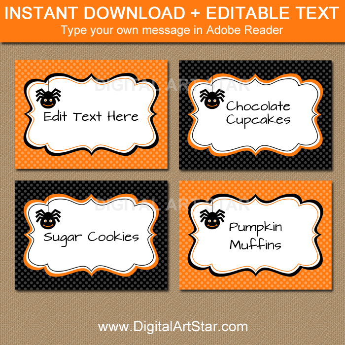 orange and black spider food labels