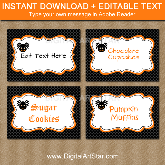black Halloween candy buffet labels with spider