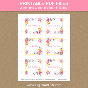 Spring Floral 3 Inch Square Printable Favor Stickers Download