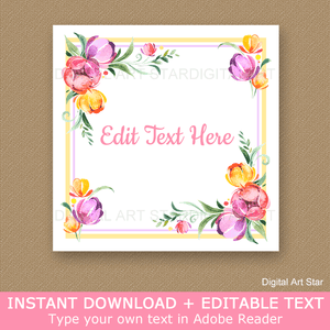 Spring Floral Printable Favor Stickers Editable Template