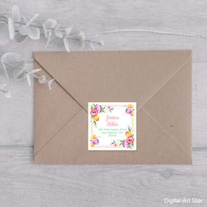 Square Floral Return Address Label Template Printable Downloadable