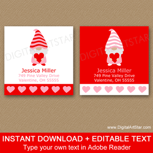 Square Return Address Labels Printable - Valentine Gnome