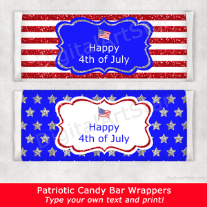 Stars and Stripes 4th of July Candy Bar Wrappers
