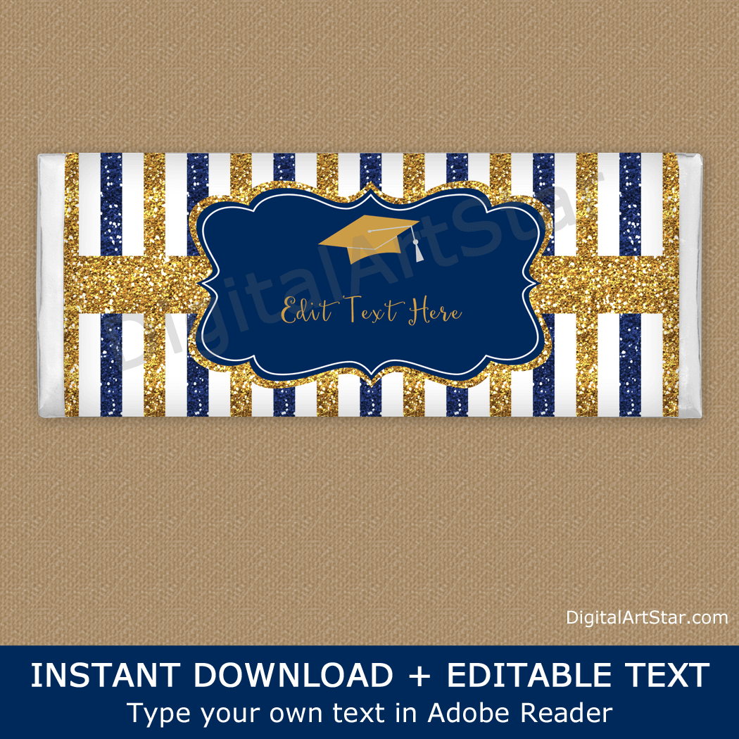 Striped Graduation Candy Bar Wrappers Navy Blue and Gold Glitter